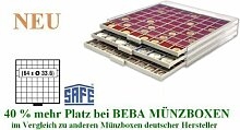 SAFE MÜNZBOXEN BEBA - MB6108 - 64 x 33,6 MM FÄCHER - für Münzen bis 33,6 mm und Münzkapseln bis Caps 26 - 27 mm - Ideal 5 - 10 EURO / DM / MARK DDR & 2 EURO / DM / ZLOTY / US PRESIDENTIAL DOLLARS IN MÜNZKAPSELN