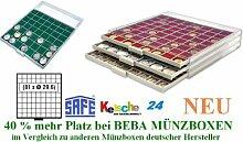 SAFE MÜNZBOXEN BEBA - MB6109G - 81 x 29,6 MM FÄCHER GRATIS mit grünen Filzeinlagen - für Münzen bis 29,6 mm und Münzkapseln bis Caps 23,5 mm - Ideal für 1, 2, 5, 10, 20 Cent 1 & 2 EURO u. 5 DM Gedenkmünzen - 40 % mehr Platz als vergleichbare Münzboxen