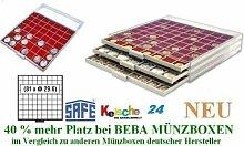 SAFE MÜNZBOXEN BEBA - MB6109R - 81 x 29,6 MM FÄCHER GRATIS mit roten Filzeinlagen - für Münzen bis 29,6 mm und Münzkapseln bis Caps 23,5 mm - Ideal für 1, 2, 5, 10, 20 Cent 1 & 2 EURO u. 5 DM Gedenkmünzen - 40 % mehr Platz als vergleichbare Münzboxen