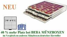 SAFE MÜNZBOXEN BEBA - MB6110 - 100 x 26,5 MM FÄCHER - für Münzen bis 26,5 mm und Münzkapseln bis Caps 20 mm - Ideal für 1, 2, 5, 10, 20 Cent 1 & 2 EURO & 1 - 50 Pf 1 DM