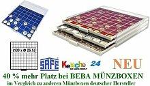 SAFE MÜNZBOXEN BEBA - MB6110B - 100 x 26.5 MM FÄCHER GRATIS mit blauen Filzeinlagen - für Münzen bis 26,5 mm und Münzkapseln bis Caps 20 mm - Ideal für 1, 2, 5, 10, 20 Cent 1 & 2 EURO & 1 - 50 Pf 1 DM - 40 % mehr Platz als vergleichbare Münzboxen !! !!