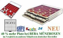 SAFE MÜNZBOXEN BEBA - MB6110R - 100 x 26,5 MM FÄCHER GRATIS mit roten Filzeinlagen - für Münzen bis 26,5 mm und Münzkapseln bis Caps 20 mm - Ideal für 1, 2, 5, 10, 20 Cent 1 & 2 EURO & 1 - 50 Pf 1 DM