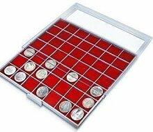 SAFE MÜNZBOXEN BEBA - MB6112R - 144 x 22.5 MM FÄCHER GRATIS mit roten Filzeinlagen - für Münzen bis 22.5 mm und Münzkapseln bis Caps 16,5 mm - Ideal für 1, 2, 5, 10, 20 Cent & 1 - 50 Pfennig