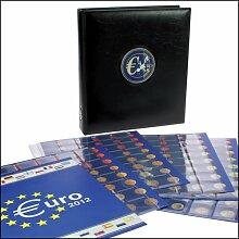 SAFE PREMIUM EUROMÜNZALBUM 7340 mit 6 farbigen Vordruckblättern + Estland und Hüllen für 30 EURO Sätze 1 Cent bis 2 EURO + Flaggen. & Jahreszahlen Set + Schutzkassette 7373 + SAFE EUROMÜNZEN Katalog 2011 + Münzhandschuhe + Münzpinzette - STARTERSET !