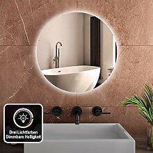 Safeni Badspiegel mit Beleuchtung Rund 60cm3