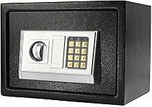 SAFETYON Safe Tresor Möbeltresor mit Elektronikschloss und schlüssel feuerfest wasserdicht, Wandtresor Zahlenschloss für Homesafe 35 X 25 X 25cm schwarz mit silber