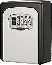 SAFETYON Schlüsseltresor mit 4-stelliges Zahlencode Wandmontage innen-Aussenbereich, Schlüsselkasten Edelstahl, Key Lock Box wasserdicht und stabil schwarz