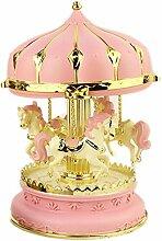 Saflyse Pink Dekoration Karussell Pferde Spieluhr Spieldose Geschenk für Kinder