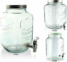 Saftspender 5/8 L aus Glas mit Zapfhahn