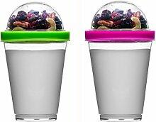 Sagaform Yoghurtbecher Joghurt-Becher (Grün + Rosa)