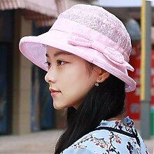 SAIBANGZI Frau atemlos Sonnenschutz Hut Sonnenhut bestickt Drahtgeflecht Strand hat neuen Outdoor Hut. Rosa