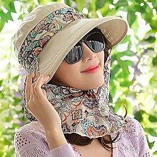 SAIBANGZI Sommer Hut Sonnenhut Sonnenschutz Außen-Markise Sonnenschutz winddicht Falten Radfahren Outdoor Hut. Uniform Code Reißverschluss-Khaki
