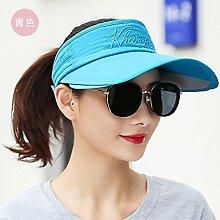 SAIBANGZI Sonnenschutz hat weibliche gegen UV-Strand Cap blau