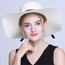 SAIBANGZI Urlaub Geschenke Sommer Hut faltbar Strohhut Beach Hut Sonnenschutz Hut Flat Top Hat White eine