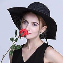 SAIBANGZI Urlaub Geschenke Sommer Hut faltbar Strohhut Beach Hut Sonnenschutz Hut Mütze schwarz mit flacher Oberseite