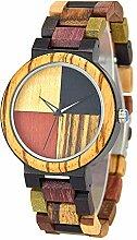 SailorMJY Analoger Quarz-Uhr der hölzernen Uhr