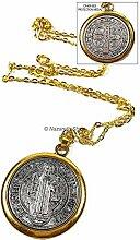 Saint Benedict Medaille Gold Silber Ton St SAN BENITO Medalla Kreuz Halskette 1.4