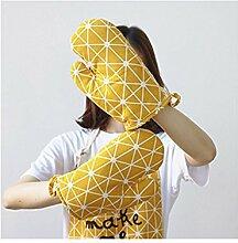 Saint Kaiko 1 Paar Baumwolle und Polyester Hitzebeständig Ofenhandschuhe Hitzeresistente Topflappen Backhandschuhe -15 * 25 cm (Gelb)