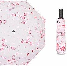 Sakura Sonnenschirm Ultralight Kleine Klappschirme Sonnenschutz UV-Schirm QIQIDEDIAN (Farbe : Pink, Größe : Three Fold Umbrella)