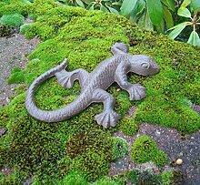 Salamander, Echse, Gekko, Dekofigur, Gusseisen, braun, Landhaus