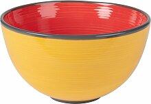 Salatschüssel aus Fayence, rot und gelb