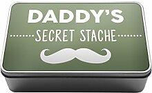 Salbei Grün Daddy 's Secret Stache Funny Geschenkidee Dad Metall Aufbewahrungsdose Box A017