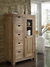 SalesFever Brotschrank Yoga, natur, 147x95 cm, mit Tür und 5 Schubladen, Schrank aus Sheeshamholz