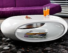 SalesFever Couch-Tisch Hochglanz weiß oval 100x70
