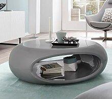 SalesFever Couchtisch Hochglanz oval UFO grau