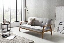 SalesFever® Design-Schlafsofa, Sofa-Bett im skandinavischen Stil, modernes 3-Sitzer Klappsofa, Stoff hellgrau, FSC® 100% Holzgestell Eiche