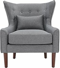 SalesFever® Ohrensessel, Sessel mit Armlehnen, Polstersessel in Dunkelgrau, pflegeleichte Oberfläche, Füße aus massivem Holz, Polsterbezug aus Polyester, 78x82x89cm