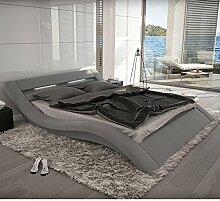 SalesFever Polster-Bett 200x220 cm grau aus Stoff