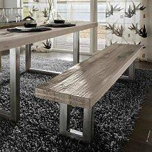 SalesFever Sitzbank aus Massivholz - SQUARE white-wash Gestell aus Stahl B 200 x T 35 x H 45 cm