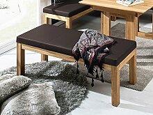 SALIMA Sitzbank ohne Rücken Massivholz mit Kunstleder bezogen, 130 cm, Eiche geölt, dunkelbraun