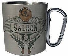 Salon-Cowboy Texas Edelstahl Karabiner Reisebecher