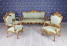 Salonmöbel Sitzgarnitur XXL Sitzmöbel Barock Sofa 4 Sessel Wohnzimmer Palazzo Exklusiv