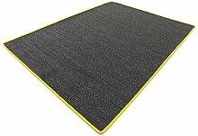 Salsa Design HEVO® Sisal Teppich anthrazit mit gelber Kettelkante 067x400 cm