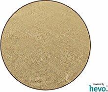 Salsa Design HEVO® Sisal Teppich Honig mit brauner Kettelkante 200 cm Ø Rund