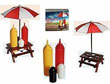 Salz und Pfeffer Streuer mal anders Gewürzhalter Holz-Picknicktisch , mit Sonnenschirm, Kunststoff-Salz- & Pfefferstreuer, Senf- & Ketchup-Flasche ideal für die Grillsaison- ein echter Hingucker