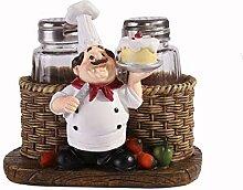 Salz- und Pfefferstreuer-Set, sitzender Chefkoch,