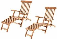 SAM 2er Set Teak-Holz Deckchair Puccon,