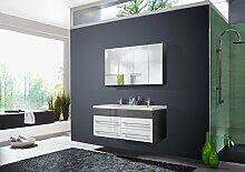 SAM® 2tlg. Design Badmöbel-Set Dali 120 cm grau/weiß, Softclose-Funktion, 1 Doppel-Waschplatz mit Mineralgussbecken und 1 Spiegelschrank