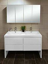 SAM® 2tlg. Montagsbad Badmöbel-Set, 120 cm, 2. Wahl Designer-Badset mit Doppel-Waschplatz mit Softclose-Funktion, in weiß mit vierteiligem Spiegelschrank [521064]