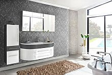 SAM® 3tlg. Design Badmöbel-Set Dali 140 cm grau/weiß, Softclose-Funktion, 1 Waschplatz mit Mineralgussbecken, 1 Spiegelschrank und 1 Hochschrank
