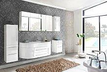 SAM® 5tlg. Design Badmöbel-Set Dali 140 cm weiß, Softclose-Funktion, 1 Waschplatz mit Mineralgussbecken, 1 Spiegelschrank, 1 Hochschrank, 1 Hängeschrank, 1 Unterschrank