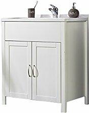 SAM® Badezimmer Badmöbel Waschplatz Valencia, Waschplatz inklusive Waschbecken in weiß lackiertem Kiefernholz, Griffe in Edelstahloptik, viel Stauraum