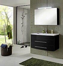 SAM® Badmöbel-Set 2-tlg, Basel, Hochglanz schwarz, Softclose Badezimmermöbel, Waschplatz 100 cm Mineralgussbecken weiß, Spiegelschrank