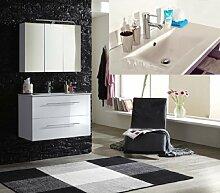 SAM® Badmöbel-Set 2-tlg, Basel, Hochglanz weiß, Softclose Badezimmermöbel, Waschplatz 90 cm Keramikbecken weiß, Spiegelschrank