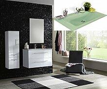 SAM® Badmöbel-Set 3-tlg, Basel light, Hochglanz weiß, Softclose Badezimmermöbel, Waschplatz 90 cm Milchglasbecken grün, Spiegel, Hochschrank