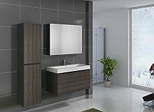SAM® Badmöbel-Set 3-tlg, Parma, Trüffeleiche matt, Softclose Badezimmermöbel, Waschplatz 100 cm Mineralgussbecken, Spiegelschrank, Hochschrank